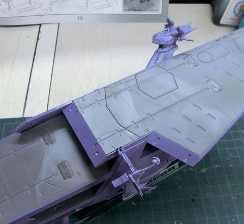 1/1000 ガイペロン級多層式航宙母艦 ランベア プラモデル サンプル製作レビュー タギミ