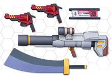 LBXカスタムウェポン015 プラモデル CWマシンランチャー CW斬馬刀 CWレッドホークX2 ダンボール戦機 タギミ